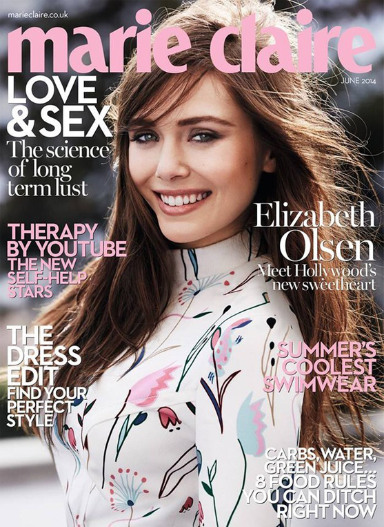 Elizabeth Olsen covers Marie Claire UK June in Miu Miu