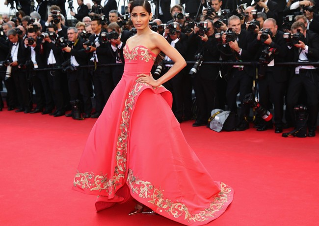 Freida Pinto stuns in Oscar de la Renta on Cannes Film Festival red carpet