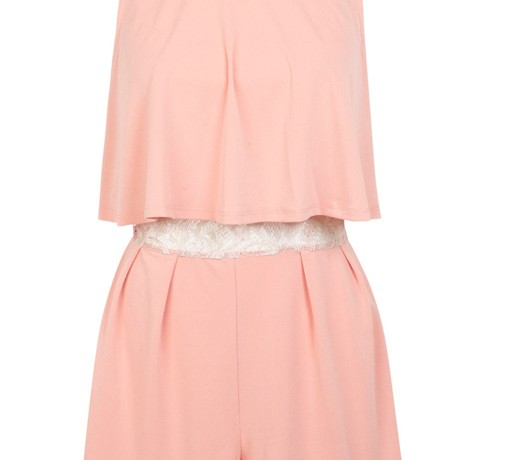 Lunchtime Buy: Miss Selfridge peach lace insert playsuit.