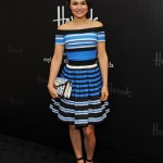Samantha Barks does stripes right at Pradasphere Harrods launch