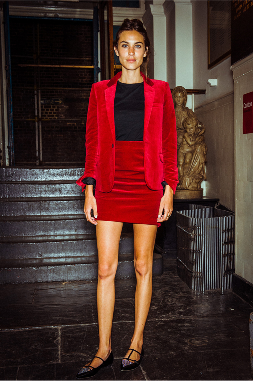 Alexa Chung suits up in red velvet Saint Laurent
