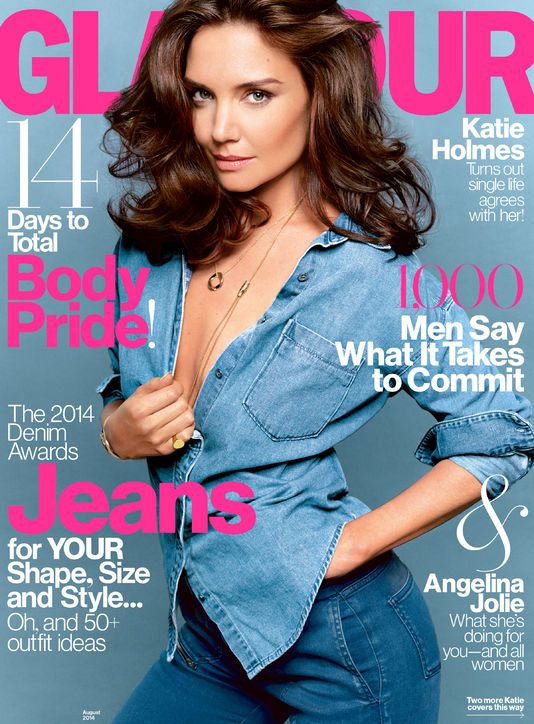 Katie Holmes rocks double denim on Glamour US August cover
