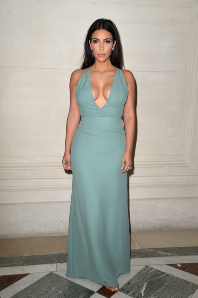 Kim Kardashian and her cleavage attend the Valentino Couture show
