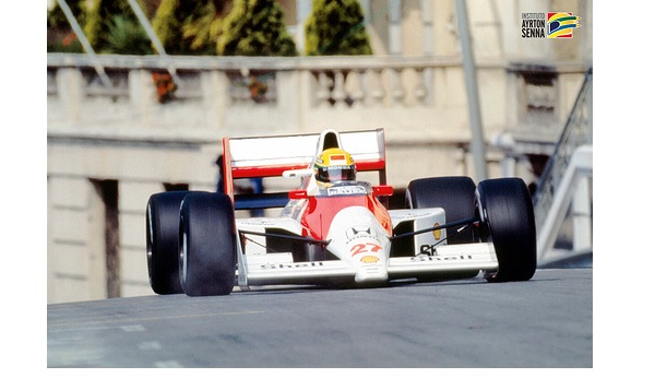 The late Ayrton Senna racing on the streets of Monaco –    by  Instituto Ayrton Senna