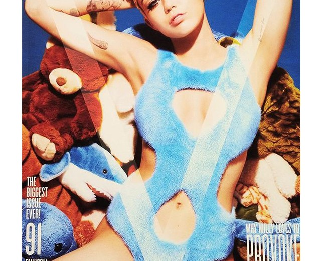 Miley Cyrus covers V's Rebel issue in furry Fendi one-piece