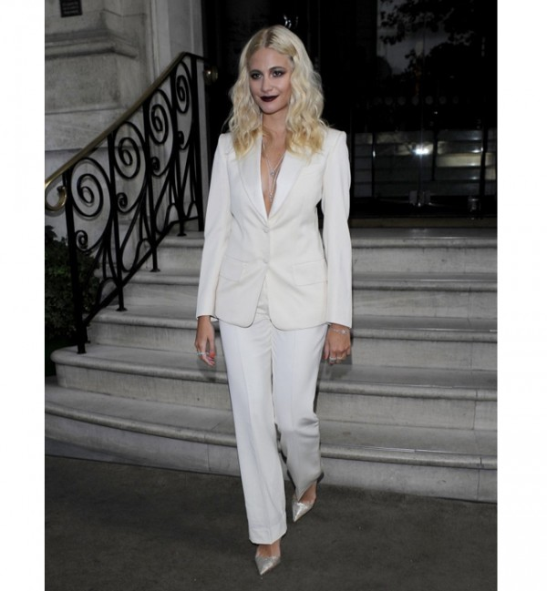 Pixie Lott suits up in white Saint Laurent