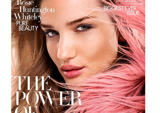 Rosie Huntington Whiteley wears Gucci for Harper's Bazaar UK September cover