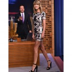 Taylor Swift parades her pins in monochrome ensemble on The Tonight Show