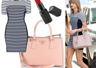 Get Taylor Swift's striped bodycon look