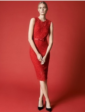 Embroidered Lace Dress in Hollywood Red: Image courtesy of Winser London