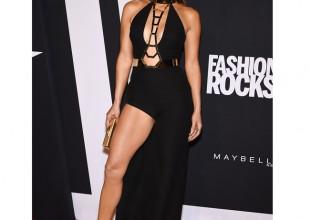 Jennifer Lopez owns the Fashion Rocks red carpet in racy Versace dress