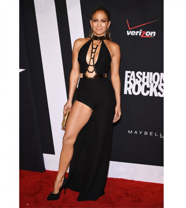 Jennifer Lopez owns the Fashion Rocks red carpet in racy Versace dress