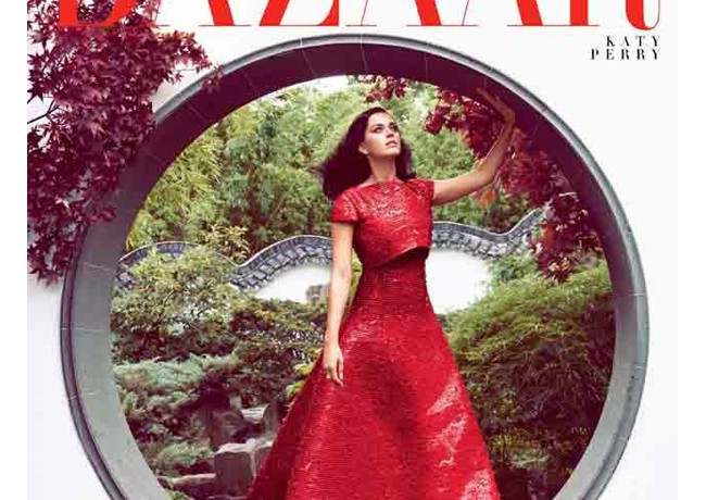 Katy Perry is the lady in red for Harper's Bazaar US October issue