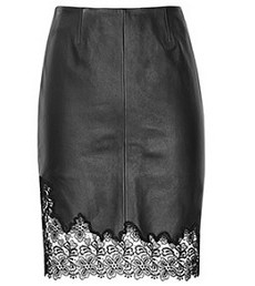 Reiss Lace Trim Leather Black Skirt