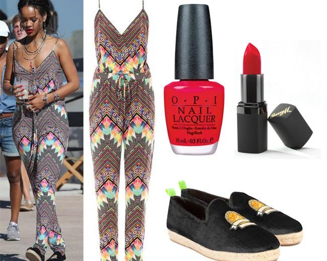 Get Rihanna's Mara Hoffman printed jumpsuit look