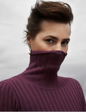 Merino Wool Polo in Rich Berry as modelled by Yasmin le Bon: Image courtesy of Winser London