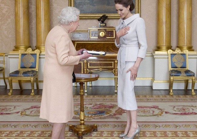 Angelina Jolie wears Ralph & Russo to receive Honorary Damehood