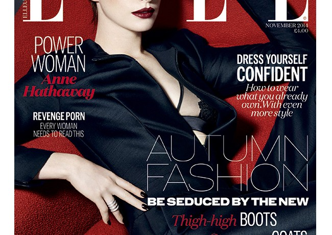 Anne Hathaway poses sexily in Emporio Armani for Elle UK November