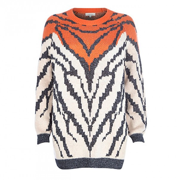 Lunchtime buy: River Island orange metallic animal knit jumper
