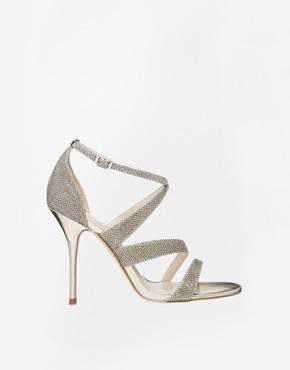 Karen Millen Gold Glitter Heeled Sandals