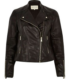 Black Leather Zip Detail Biker Jacket