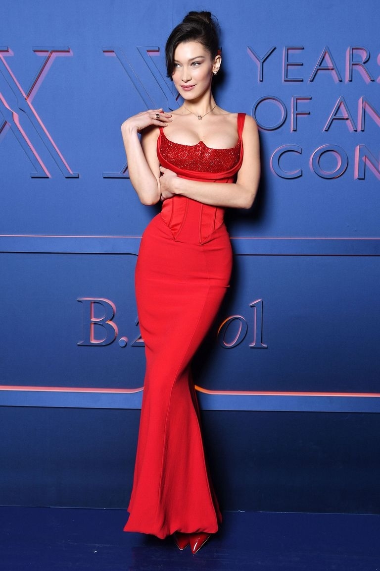 Bella Hadid Is Red Hot In Versace At Bulgari Event