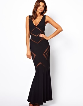 ASOS Forever Unique Plunge Neck Maxi Dress with Mesh Inserts