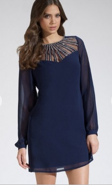 Lipsy Diamante Mesh Yoke Shift Dress