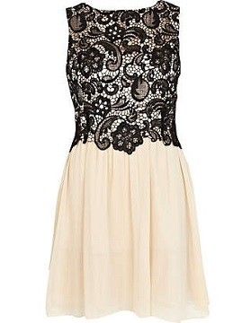 River Island Black Little Mistress lace top prom dress