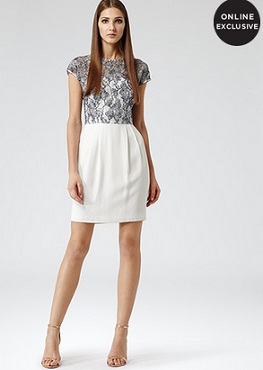 Reiss Katlun Lace bodice dress