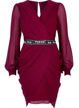 River Island Dark Red Sequin Waist Draped Dress