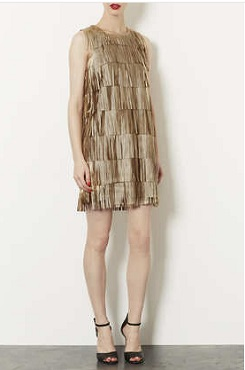 Topshop Metallic Tassle PU Dress